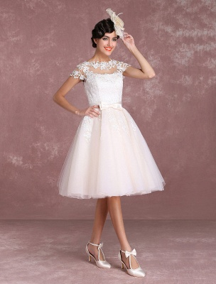 Vintage Wedding Dresses Short Lace Applique Bridal Gown Illusion Bow Sash Bridal Dress Exclusive_6