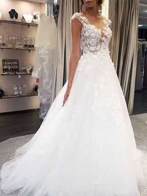 Wedding Dress Jewel Neck Sleeveless Lace Flora A Line Tulle Bridal Gowns For Beach Wedding_1