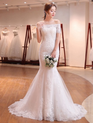 Mermaid Wedding Dresses Lace Beading Off The Shoulder Short Sleeve Fishtail Ivory Bridal Gown With Train_1