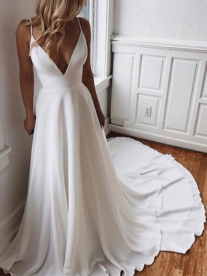 Vestido de novia simple Una línea Cuello en V Sin mangas Correas Volver Encaje Boho Vestidos de novia con tren_2