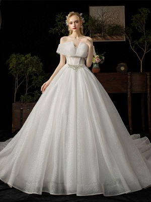 Ball Gown Wedding Dress 2021 Princess Silhouette Cathedral Train Off The-Shoulder Short Sleeves Natural Waist Beaded Sequined Bridal Dresses_1