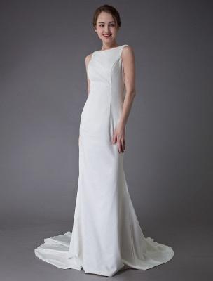 Brautkleider Elfenbein Mantel Einfaches Brautkleid mit Wasserfallausschnitt Strandhochzeitskleider mit Zug Exklusiv_4