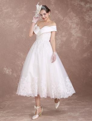Vintage Wedding Dresses Off The Shoulder Short Bridal Dress 1950'S Lace Applique Beaded Tea Length Wedding Reception Dress Exclusive_4