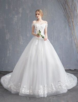 Princess Wedding Dresses Ball Gown Lace Beaded Chains Off The Shoulder Bridal Dress_3