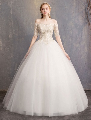 Tulle Wedding Dress Off The Shoulder Half Sleeve Princess Bridal Gown_3