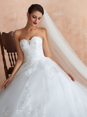 Wedding Dress Princess Silhouette Sweetheart Neck Sleeveless Natural Waist Bridal Gowns With Train_7