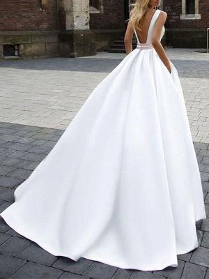 Einfache Hochzeitskleid Satin Stoff Square Neck Ärmellose Schärpe A Line Brautkleider_2