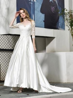 Vestido de novia simple Cuello joya Medias mangas Una línea Vestidos de novia con cuentas con tren_3