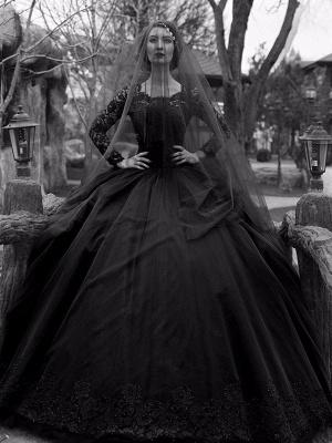 Gothic Brautkleider Prinzessin Silhouette mit langen Ärmeln Spitze Taft Hofzug Vintage Brautkleid_2