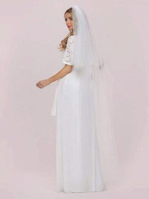 Weißes Einfaches Brautkleid Chiffon Jewel Neck Kurze Ärmel Schärpe A-Linie Lange Brautkleider_8
