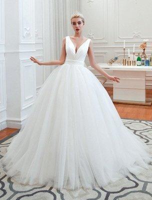 Princess Wedding Dress 2021 Ball Gown V Neck Sleeveless Natural Waist Court Train Bridal Gowns_1
