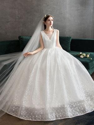 Ivory Wedding Dress Tulle Beaded V Neck Sleeveless Floor Length Princess Bridal Gown_1