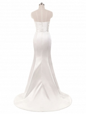 Ivory Wedding Dresses Strapless Mermaid Evening Dresses V Neck Sleeveless Split Beach Bridal Gown With Court Train_4
