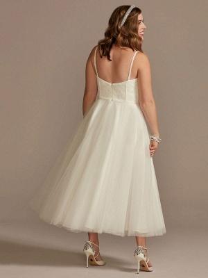 Kurzes Hochzeitskleid Weiß Ärmellos Tee-Länge Herzausschnitt Ärmellos A-Linie Natürliche Taille Tüll Brautkleider_2
