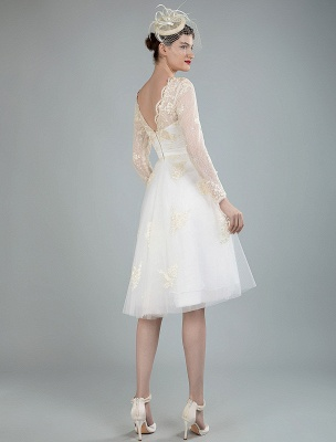Short Wedding Dress Tulle Knee Length V Neck Long Sleeves A Line Natural Waist Bridal Gowns Exclusive_3