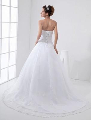 Robes de mariée blanches sans bretelles robe de mariée dentelle perles côté robe de mariée drapée avec train_4