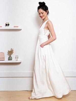 Weißes einfaches Hochzeitskleid Satin Stoff V-Ausschnitt Ärmellose Knöpfe A-Linie Lange Brautkleider_6