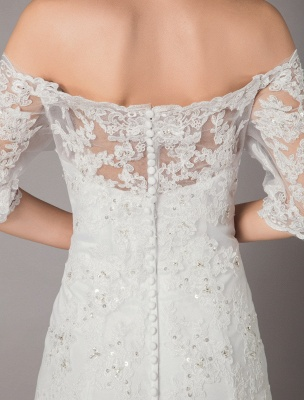 Wedding Dresses Ivory Lace Off Shoulder Half Sleeve Sequin Applique Bridal Dress With Train Exclusive_8