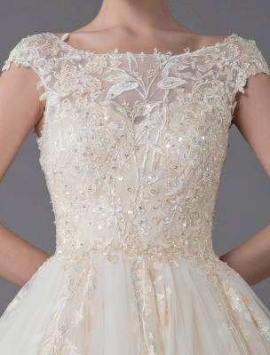 Wedding Dresses Princess Ball Gowns Champagne Lace Applique Beaded Colored Maxi Bridal Dress_8