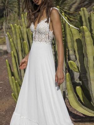 Boho Wedding Dresses 2021 Chiffon V Neck A Line Straps Sleeveless Bows Lace Bridal Gowns Ruffle Hem Bridal Dress For Beach Wedding_2