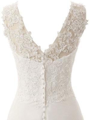 Brautkleid A Line V-Ausschnitt ärmellose Spitze Flora Perlen Brautkleider mit Zug_6