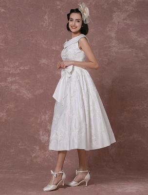 Vintage Wedding Dress Satin Short Bridal Gown Lace Beading Tea Length Reception Bridal Dress Detachable Bow Sash Exclusive_8