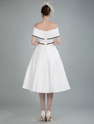 Vintage Brautkleider Satin Schulterfrei A Line Tee Länge Kurze Brautkleider Exklusiv_3