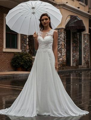 Weißes Brautkleid Illusion Ausschnitt Ärmellose Applikation Chiffon Bodenlangen Brautkleider Zug Kleid_2