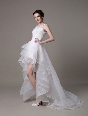Asymmetrical Organza Wedding Dress High Low A-Line With Lace Beading Flower Exclusive_4