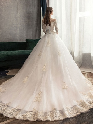 Princess-Wedding-Dresses-Ivory-Lace-Applique-Off-The-Shoulder-Half-Sleeve-Bridal-Gown-With-Train_6