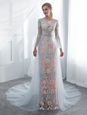 Colored Wedding Dresses Baby Blue Lace Long Sleeve Bridal Dress With Train_4