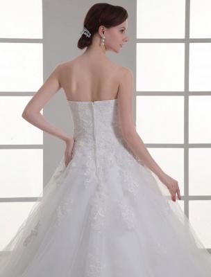 Vestido de novia de red de abalorios sin tirantes con cuello en color marfil_6