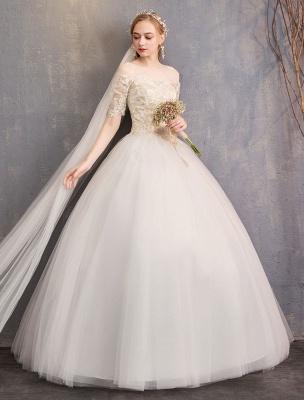 Tulle Wedding Dress Off The Shoulder Half Sleeve Princess Bridal Gown_7