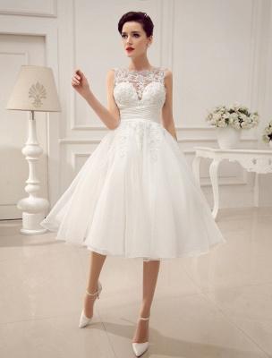 Kurze Brautkleider Vintage 1950er Brautkleid rückenfrei Spitze Perlen Plissee Pailletten Illusion Hochzeitsempfang Kleid mit exklusiven_2