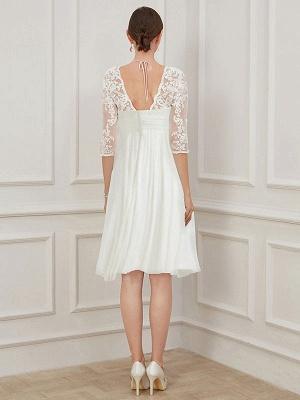 Ivory Short Wedding Dress Knee Length V Neck Half Sleeves A Line Natural Waist Chiffon Bridal Dresses_3