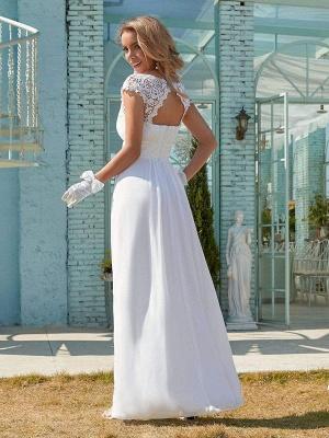 Vestido de novia blanco simple Encaje Joya Cuello Mangas cortas Sin espalda Cintura natural Plisado Gasa Encaje Una línea Vestidos de novia largos_7