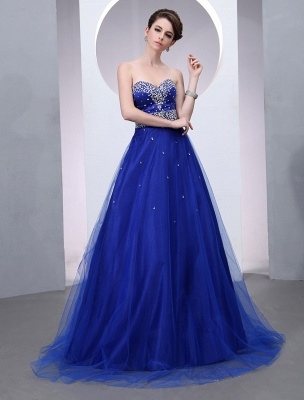 Blaues Abendkleid 2021 Langes Tüll Brautkleid Royal Blue Backless Strapless Sweetheart Court Train Brautkleid_3