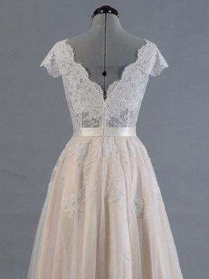 Vestido de novia 2021 Cuello en V Mangas cortas Apliques de encaje Hasta el suelo Tul Vestidos de novia tradicionales_4
