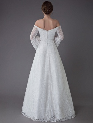 Princess Wedding Dresses Lace Off The Shoulder Long Sleeve A Line Floor Length Bridal Gown Exclusive_7