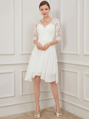 Ivory Short Wedding Dress Knee Length V Neck Half Sleeves A Line Natural Waist Chiffon Bridal Dresses_1
