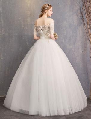 Tulle Wedding Dress Off The Shoulder Half Sleeve Princess Bridal Gown_5
