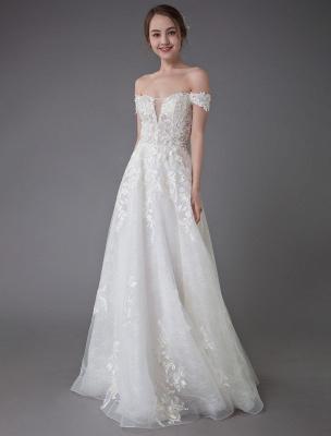 Robes de mariée d'été hors de l'épaule dentelle champagne appliques perles maxi plage robes de mariée_4