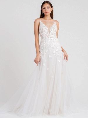 White Wedding Dress Chapel Train A-Line Sleeveless Matte Satin V-Neck Lace Tulle Bridal Dresses_1