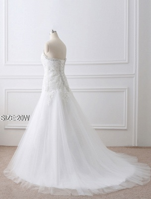 Tulle Wedding Dress Lace Beading Bridal Gown Strapless Sweetheart Chapel Train A-Line Backless Bridal Dress_12