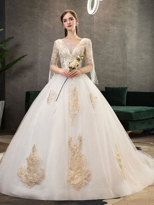Princess Wedding Dress Ivory Lace Appilque V Neck Half Sleeve Bridal Gown With Train_3