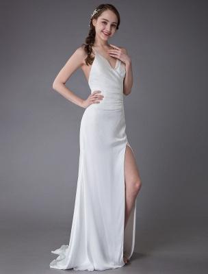 Beach Wedding Dresses Sexy Bridal Dress High Split Ivory Sheath Straps Summer Wedding Gowns Exclusive_6