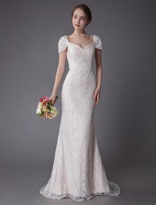 Robe de mariée en dentelle crème vanille chérie robe de mariée à manches courtes robe de mariée sirène avec train exclusif_2