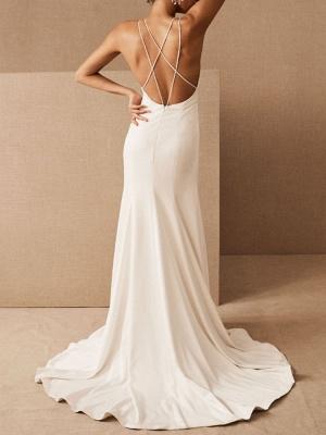 Einfache Hochzeitskleid Etui V-Ausschnitt Ärmellos Criss Cross Brautkleider mit Zug_2