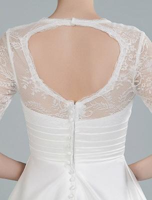 Kurze Brautkleider V-Ausschnitt 3/4 Ärmel A-Linie Tee-Länge Traditionelle Brautkleider_2