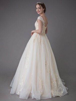Wedding Dresses Princess Ball Gowns Champagne Lace Applique Beaded Colored Maxi Bridal Dress_7